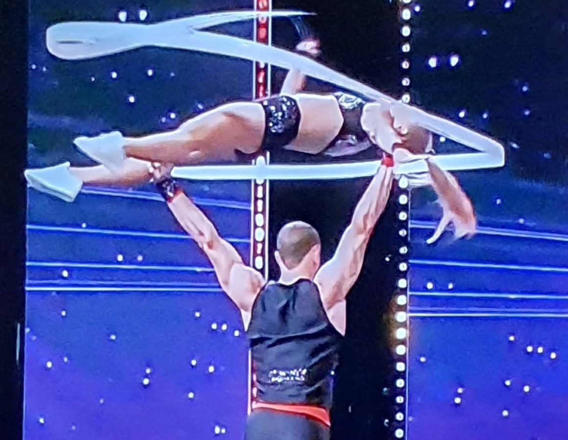 Supertalent star acrobatic with ribbon